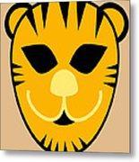 El Tigre Luchador Orange Black Beige Metal Print