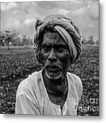 Elderly Indian Farmer Metal Print