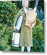 Elderly Shopper Statue Key West Metal Print