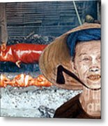 Elderly Vietnamese Woman Wearing A Conical Hat Altered Version Metal Print