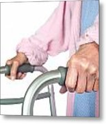 Elderly Woman Using Walker Metal Print