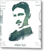Electric Arc Lamp Patent Art Nikola Tesla Metal Print