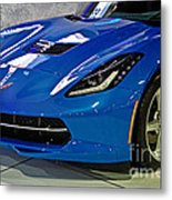 Electric Blue Corvette Metal Print