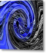 Electric Blue Wound Into Black And White Abstract Metal Print