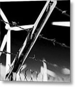 Electric Fence Black And White Metal Print