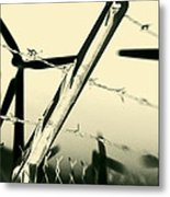 Electric Fence Silhouette Metal Print