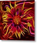 Electric Firewheel Flower Artwork Metal Print