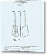 Electric Guitar Patent Drawing On Blue Background Metal Print