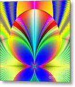 Electric Rainbow Orb Fractal Metal Print