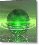 Electronic Green Saturn Metal Print