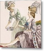Elegant Lady Having Her Feet Washed Metal Print