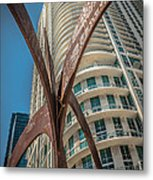 Element Of Duenos Do Los Estrellas Statue With Miami Downtown In Background  Metal Print