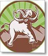 Elephant Giant Tusk Side Retro Circle Metal Print