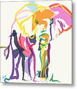 Elephant In Color Ecru Metal Print