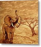 Elephant Majesty Original Coffee Painting Metal Print