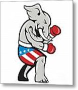 Elephant Mascot Boxer Boxing Side Cartoon Metal Print by Aloysius Patrimonio