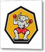 Elephant Mascot Boxer Cartoon Metal Print by Aloysius Patrimonio