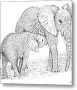 Elephant Mother Metal Print
