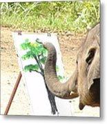 Elephant Charlie Paints The Tree Of Life Metal Print
