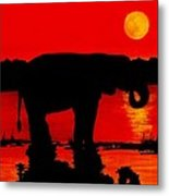 Elephant Silhouette African Sunset Metal Print