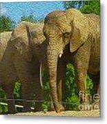 Elephant Snuggle Metal Print