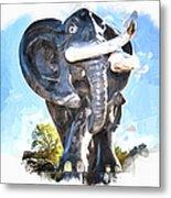 Elephant Statue Metal Print