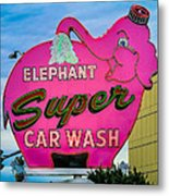 Elephant Super Car Wash Metal Print