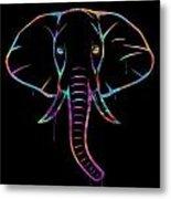 Elephant Watercolors - Black Metal Print