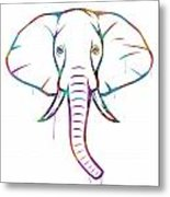 Elephant Watercolors - White Background Metal Print