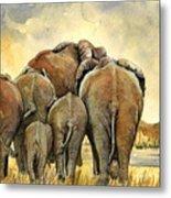 Elephants herd Metal Print