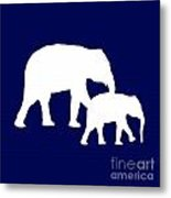 Elephants In Navy And White Metal Print