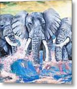 Elephants In The Tide Metal Print