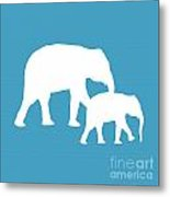 Elephants In White And Turquoise Metal Print