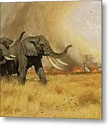 Elephants Moving Before A Fire Metal Print