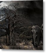 Elephants Of The Serengeti Metal Print