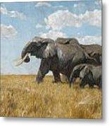 Elephants On The Move Metal Print
