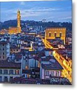 Elevated Night View Of Central Florence Metal Print