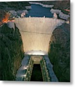 Elevated View At Dusk Of Hoover Dam Metal Print