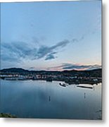 Elevated View Of A Harbor At Sunset Metal Print
