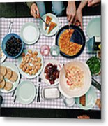 Elevated View Of A Variety Of Meals Metal Print