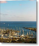 Elevated View Of Boats At A Harbor Metal Print