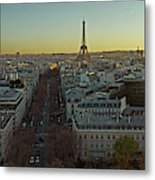 Elevated View Of Paris From Arc De Metal Print