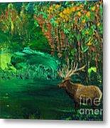 Elk Fall Metal Print