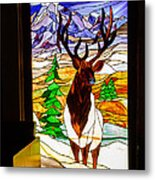 Elk Stained Glass Window Metal Print
