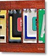 Ella License Plate Name Sign Fun Kid Room Decor. Metal Print