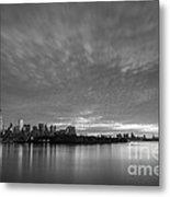 Ellis Island And Manhattan Sunrise Bw Metal Print