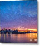 Ellis Island And Manhattan Sunrise Metal Print
