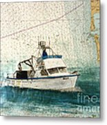 Elly Crab Fishing Boat Nautical Chart Map Art Metal Print
