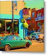 Elses Pub Cafe Plateau Montreal Corner Roy And De Bullion City Scene Art Of Montreal Carole Spandau Metal Print