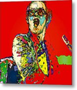 Elton In Red Metal Print